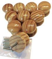 TEZ® 50mm Pine Wooden Cabinet Cupboards Drawer Furniture Door Pull Knobs